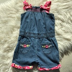 Gymboree denim romper with flowers 3T
